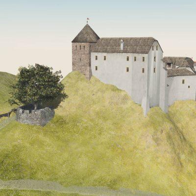Ansicht wie Stich »Neu Erbauter Calvari-Berg nechst dem Schloß Hochenburg« von 1701