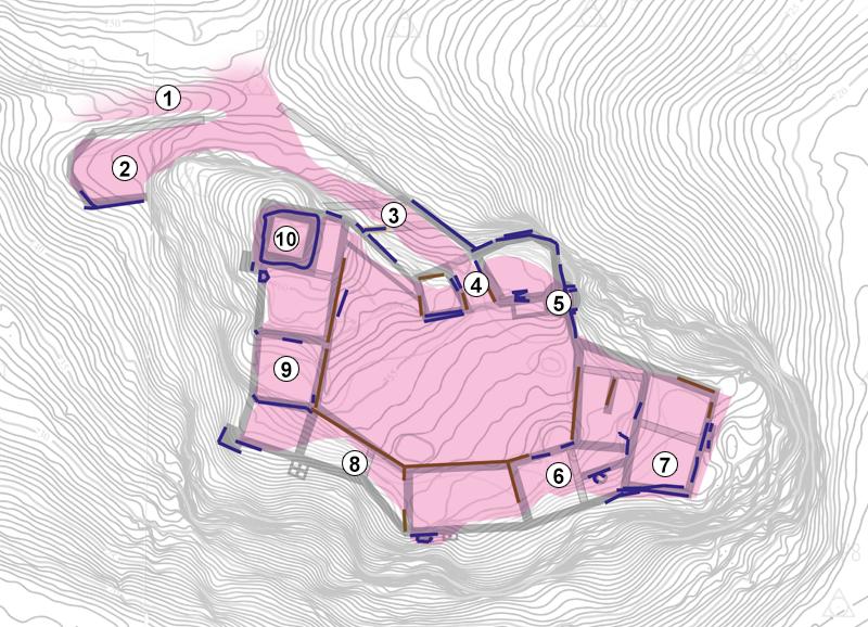 Karte der Mauerreste